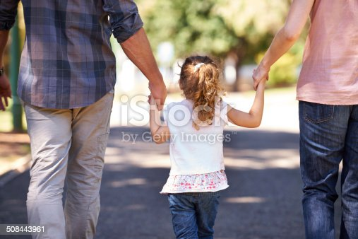 Rear view shot of a young family walking down the street