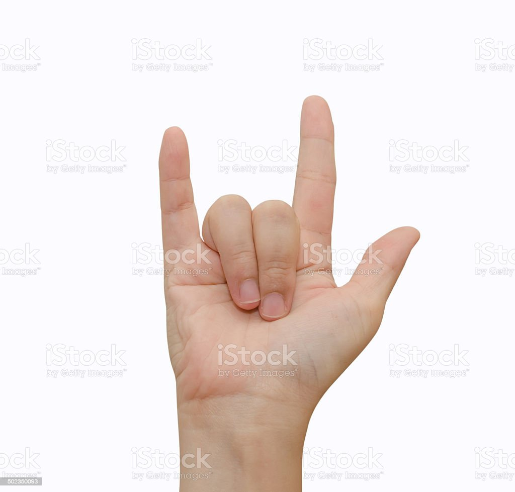 Hand in I love you message stock photo