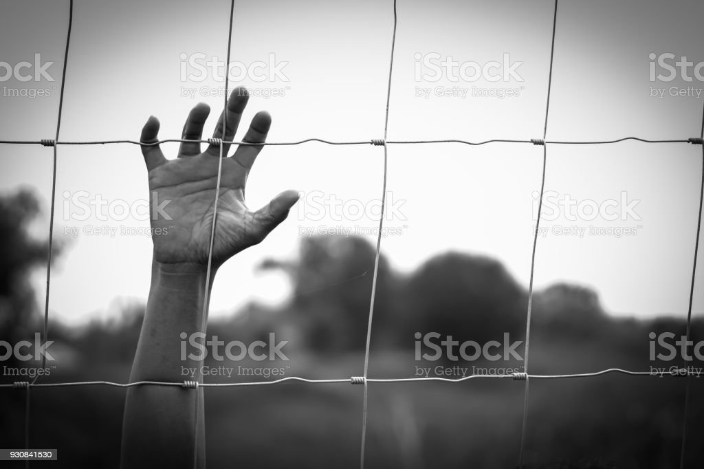 Hand in jail  and house of detention concept stock photo