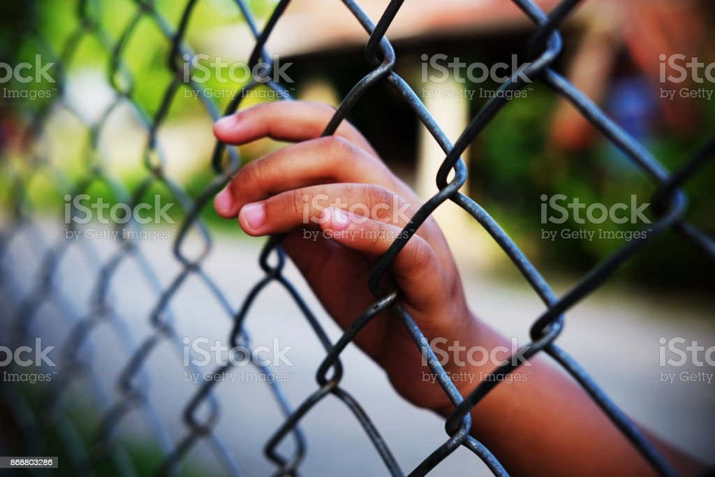 Hand in jail. stock photo