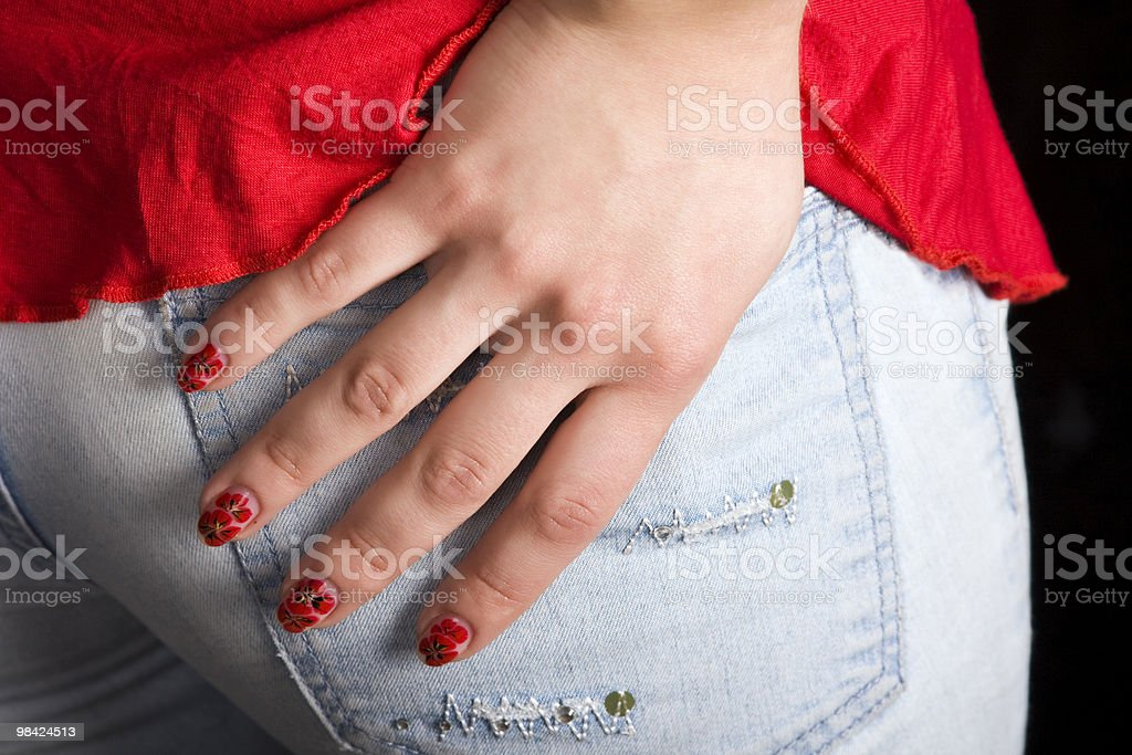 Hand in jeans pocket royalty-free stock photo