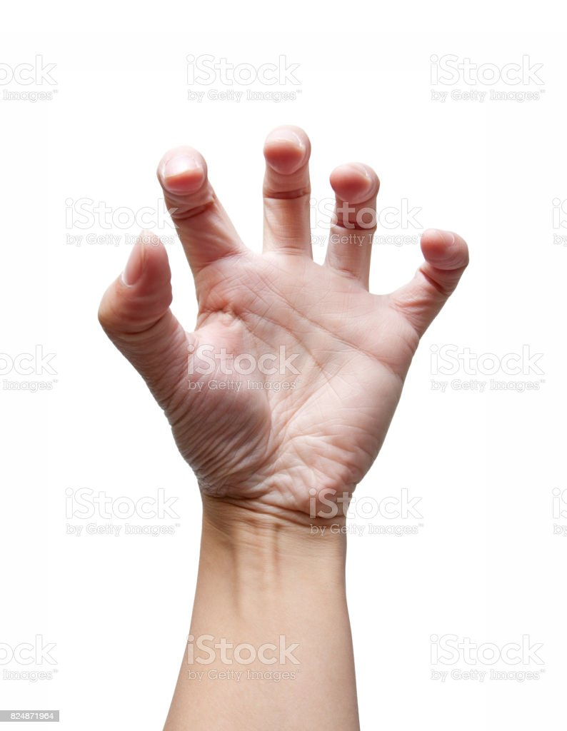 Hand in outstretched like a claw (Clipping path!) isolated stock photo