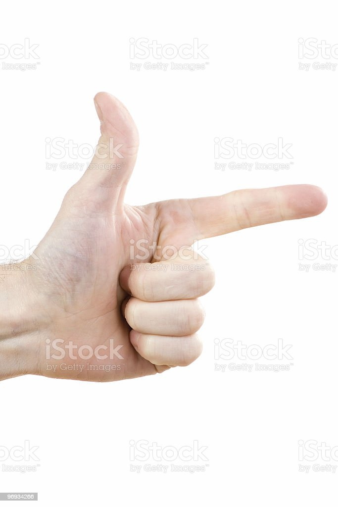 Hand in pointing pose royalty-free stock photo