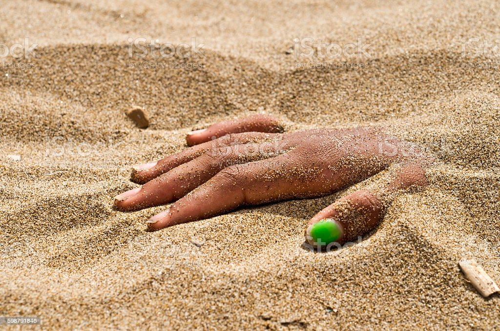 Hand In Rigor Mortis On The Beach Stock Photo - Download