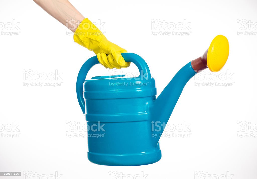 hand in yellow rubber gloves holding a plastic watering can stock photo
