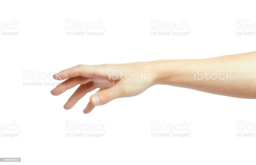 A hand is reaching out so it can shake hands. stock photo