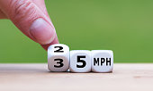 Hand is turning a dice and changes the expression '35 MPH' to '25 MPH' as symbol to reduce the speed limit from 35 to 25 miles per hour