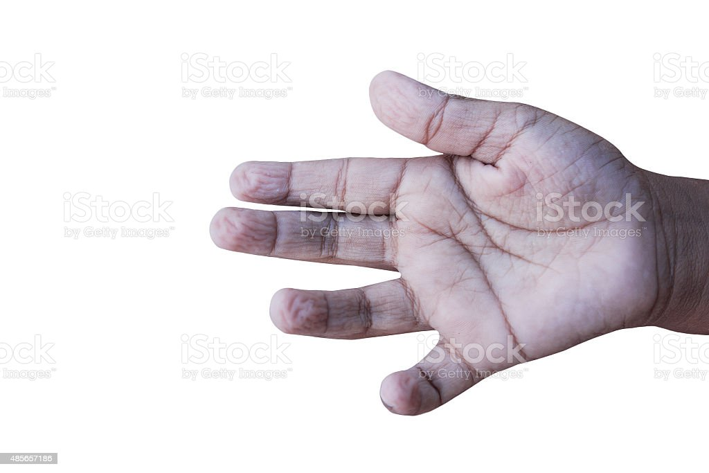 hand kid wrinkled from be immersed in water stock photo
