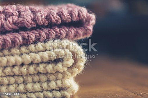 Hand knitted chunky wool blankets