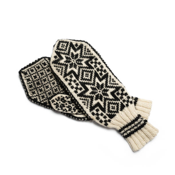 Hand knitted mittens for winter stock photo