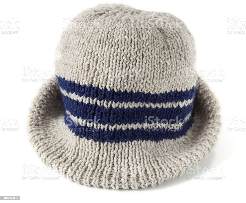 hand knitted new stripe mens hat royalty-free stock photo