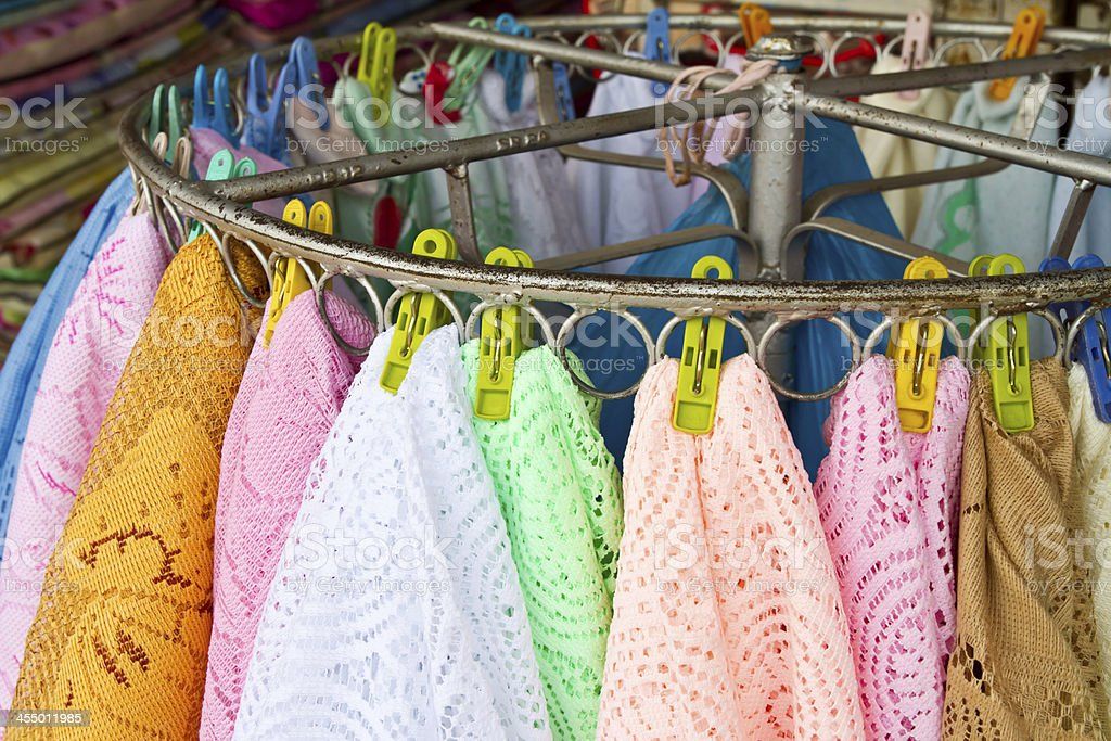 Hand knitting cloth hanging for sales royalty-free stock photo