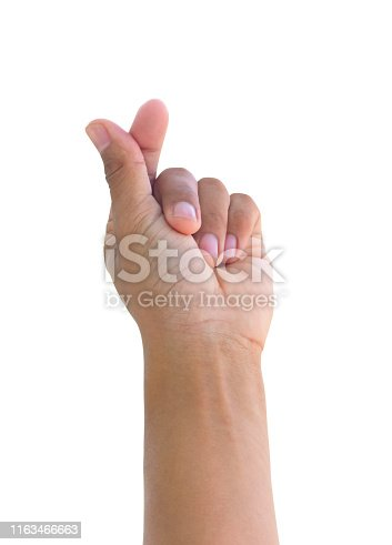 hand left to hold credit card, blank paper or other on white background