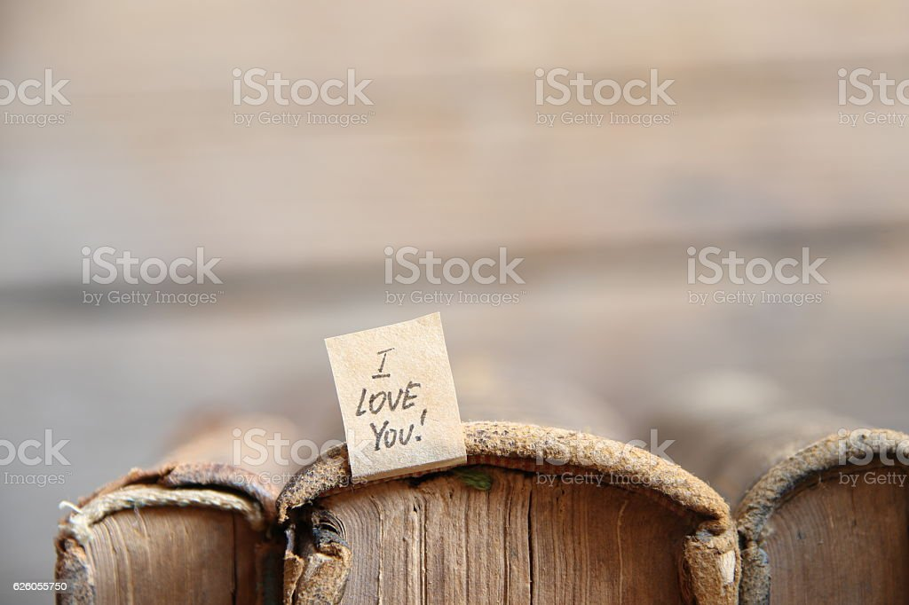 I LOVE YOU hand lettering. Valentine or wedding card. stock photo
