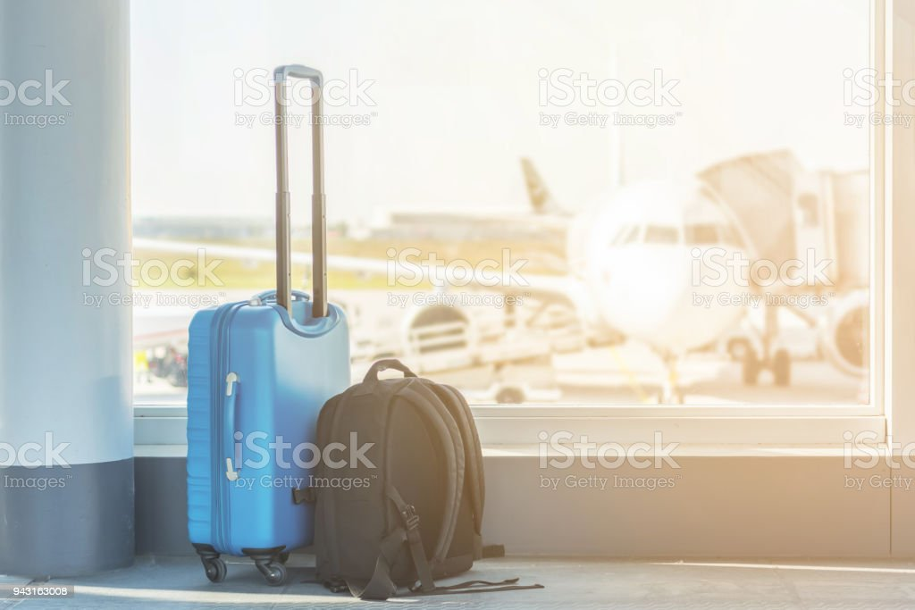 Hand luggage at the airport royalty-free stock photo