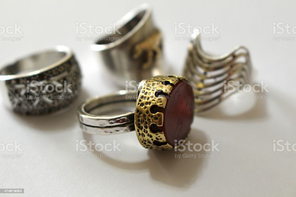 Hand Made Authentic Silver Rings stock photo