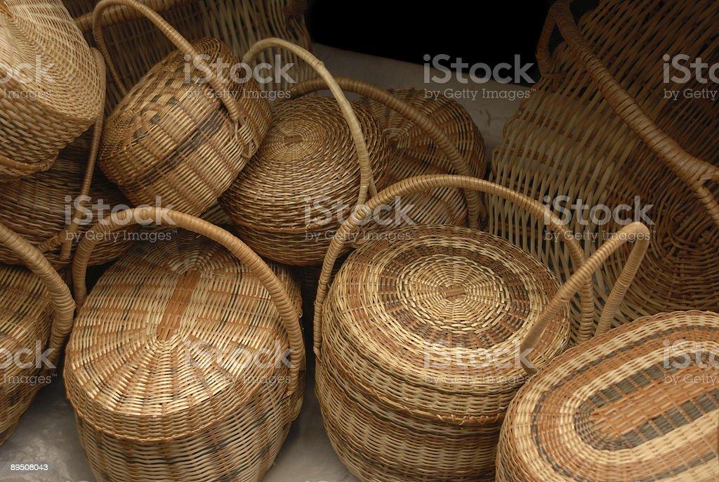 hand made baskets stock photo