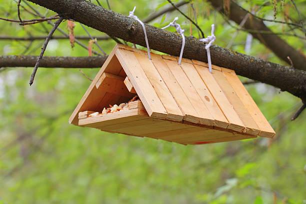 Hand made birdhouse stock photo