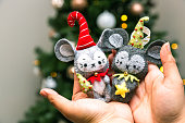 Hand Made Christmas Tree Ornament Cute Mouse