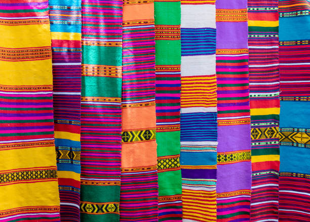 hand made colorful scarf, Ethiopia Traditional Ethiopian textiles, hand made colorful scarf on market, Lake Tana Ethiopia east africa stock pictures, royalty-free photos & images