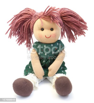 Doll made by hand. on a white background