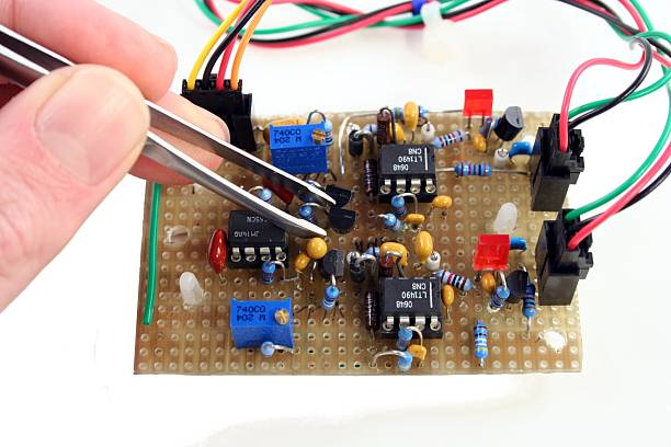 hand made electronic part stock photo