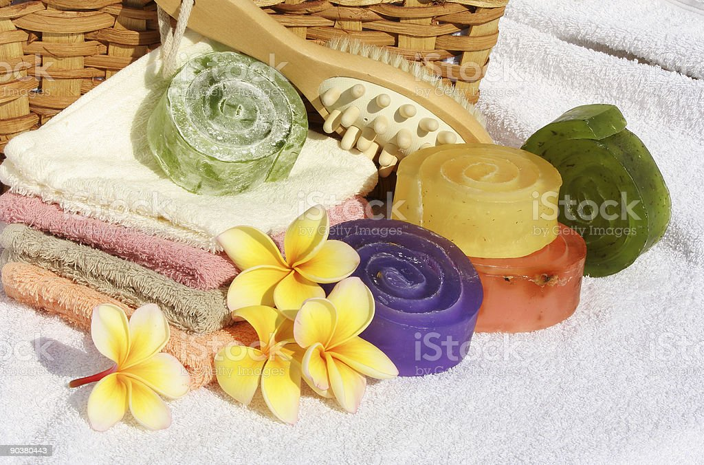 Hand Made Herbal Soap six royalty-free stock photo