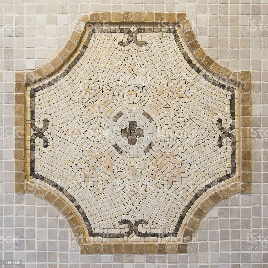 Hand made mosaic from colorful tiles stock photo