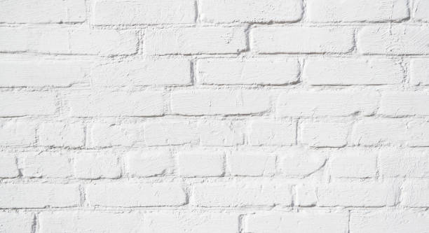 Hand made painted white brick wall close-up, loft. Qualitative background or texture. stock photo