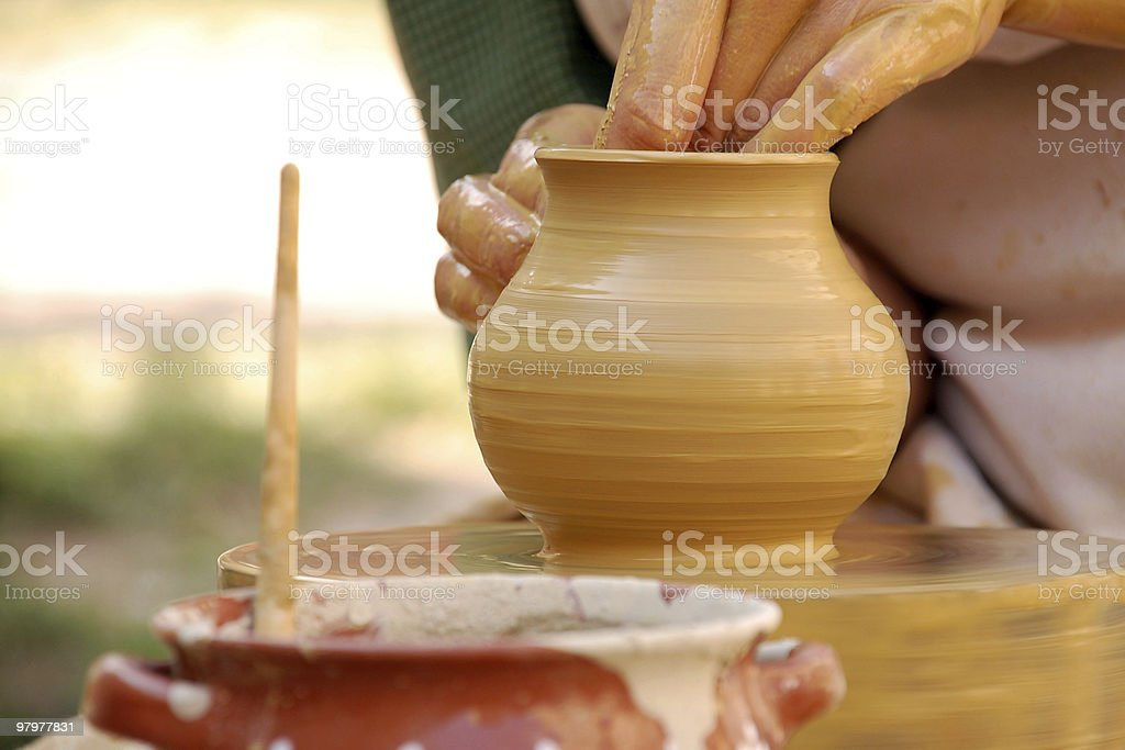Hand made pottery being manufactured stock photo