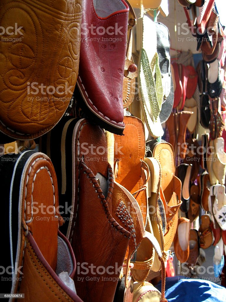 Hand made shoes in a market in Essaouira royalty-free stock photo