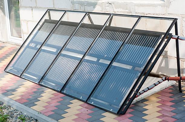 Hand made solar panels stock photo