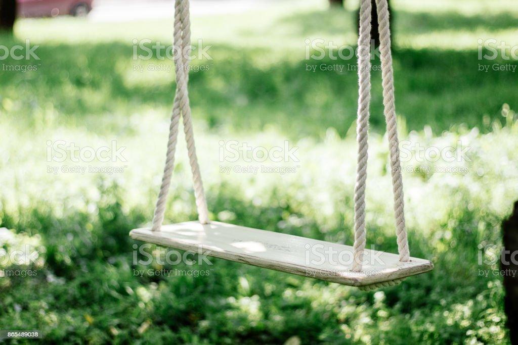 Hand made swings on a tree at backyard. stock photo