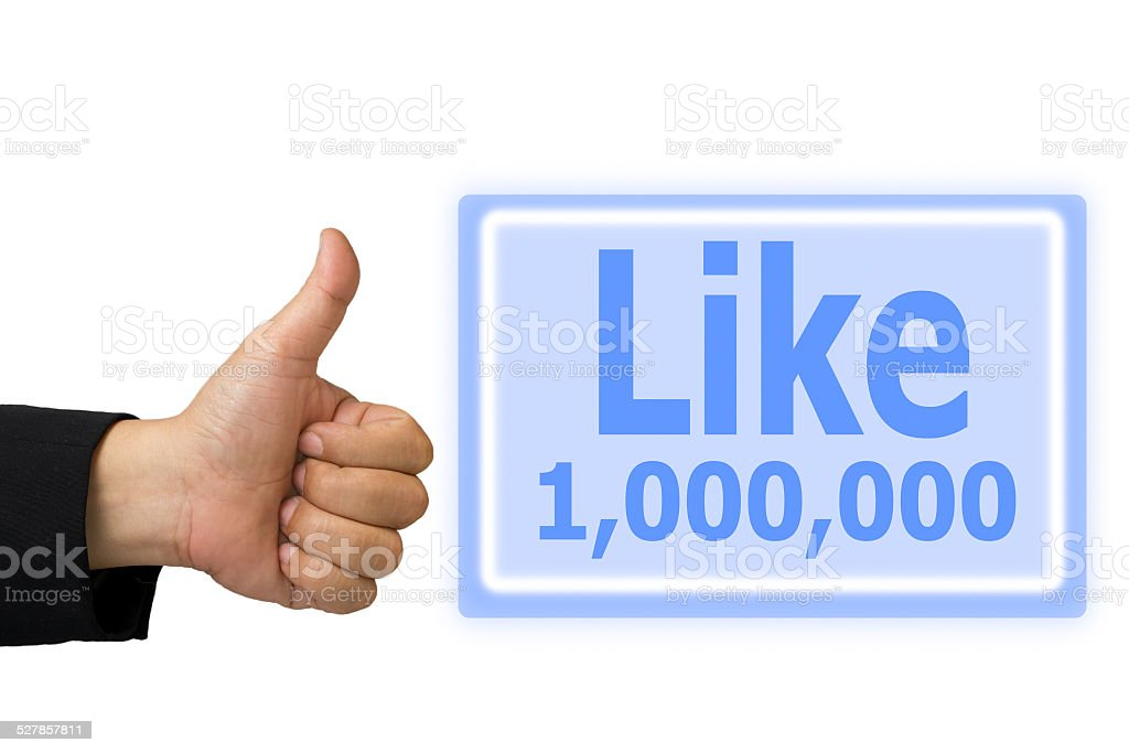 hand made symbol and  button like 1000000 time stock photo