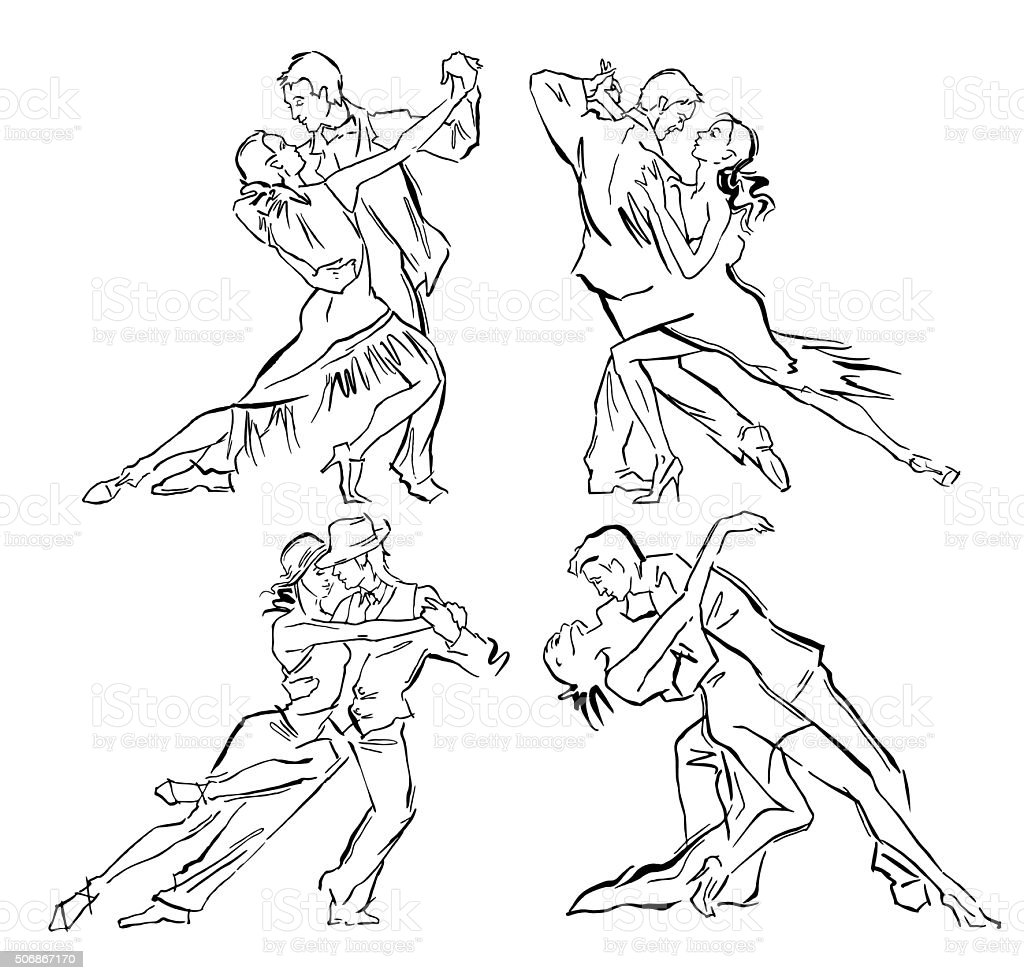 Hand made vector sketch of tango dancers. stock photo
