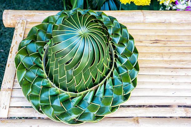 hand made weaved hat made from coconut palm leaves - halmslöjd bildbanksfoton och bilder