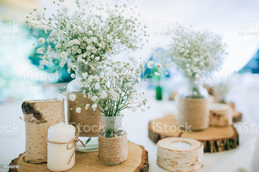 Hand Made Wedding Decoration, flowers, wood stock photo
