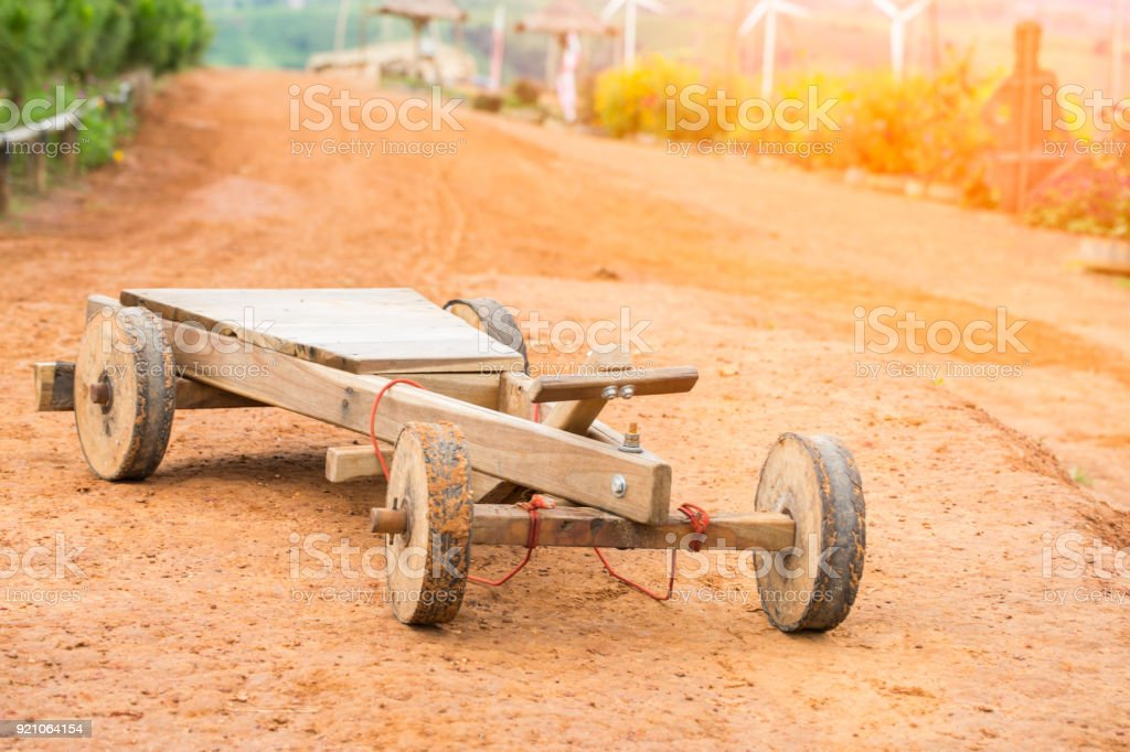 Hand made wooden toy car from hilltribes in Khao Kho, Phetchabun Province, Thailand. stock photo