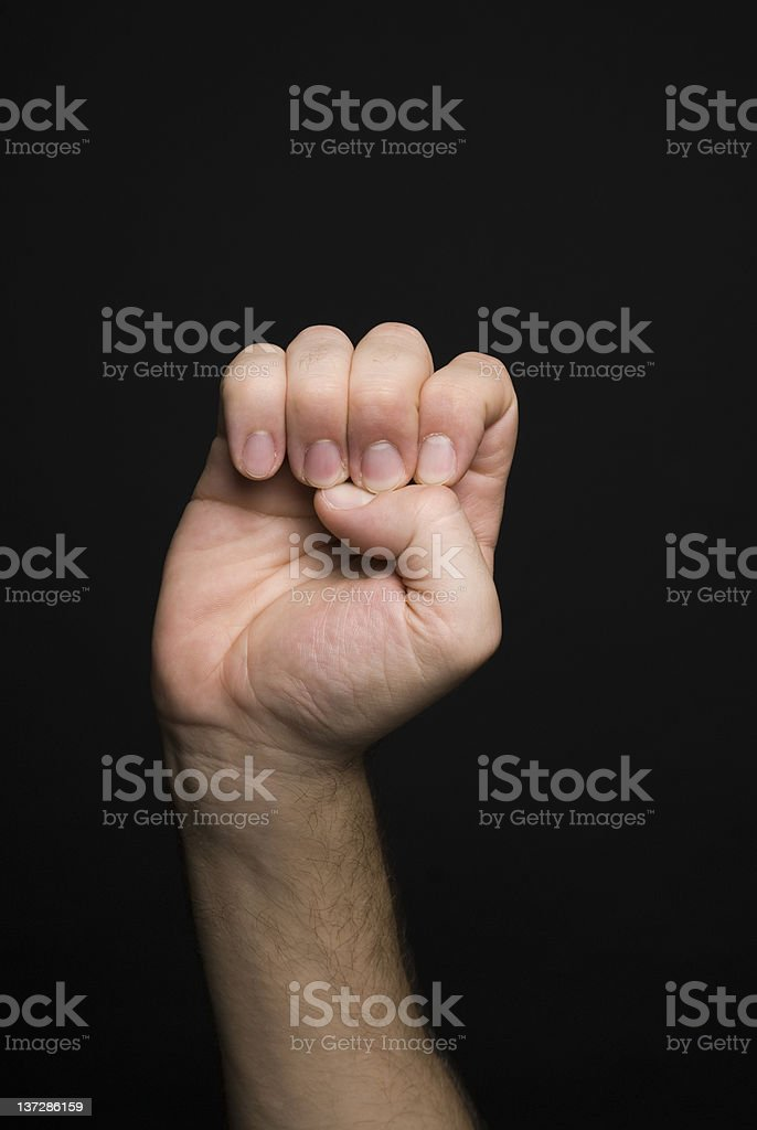 Hand making sign language letter E royalty-free stock photo