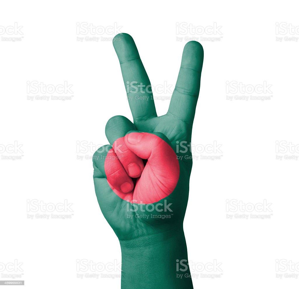 Hand, die V-Schild, Bangladesch Flagge gemalt – Foto
