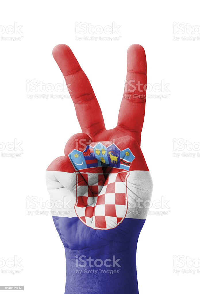 Hand making the V sign, Croatia flag painted royalty-free stock photo