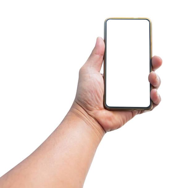 白い背景に隔離された空白の画面で携帯電話を保持しているハンドマン - 握る ストックフォトと画像