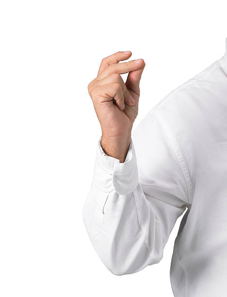 Hand man with shirt man's arm with white shirt in the act of snapping fingers isolated on white. snapping stock pictures, royalty-free photos & images
