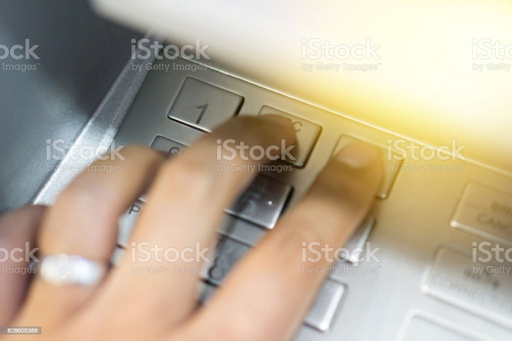 Hand Man Withdraw Money By Type Pin Code Hand Man Push Pin