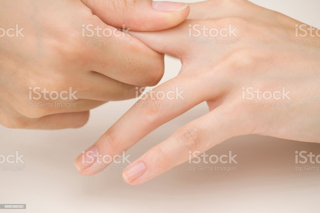 Hand massage stock photo