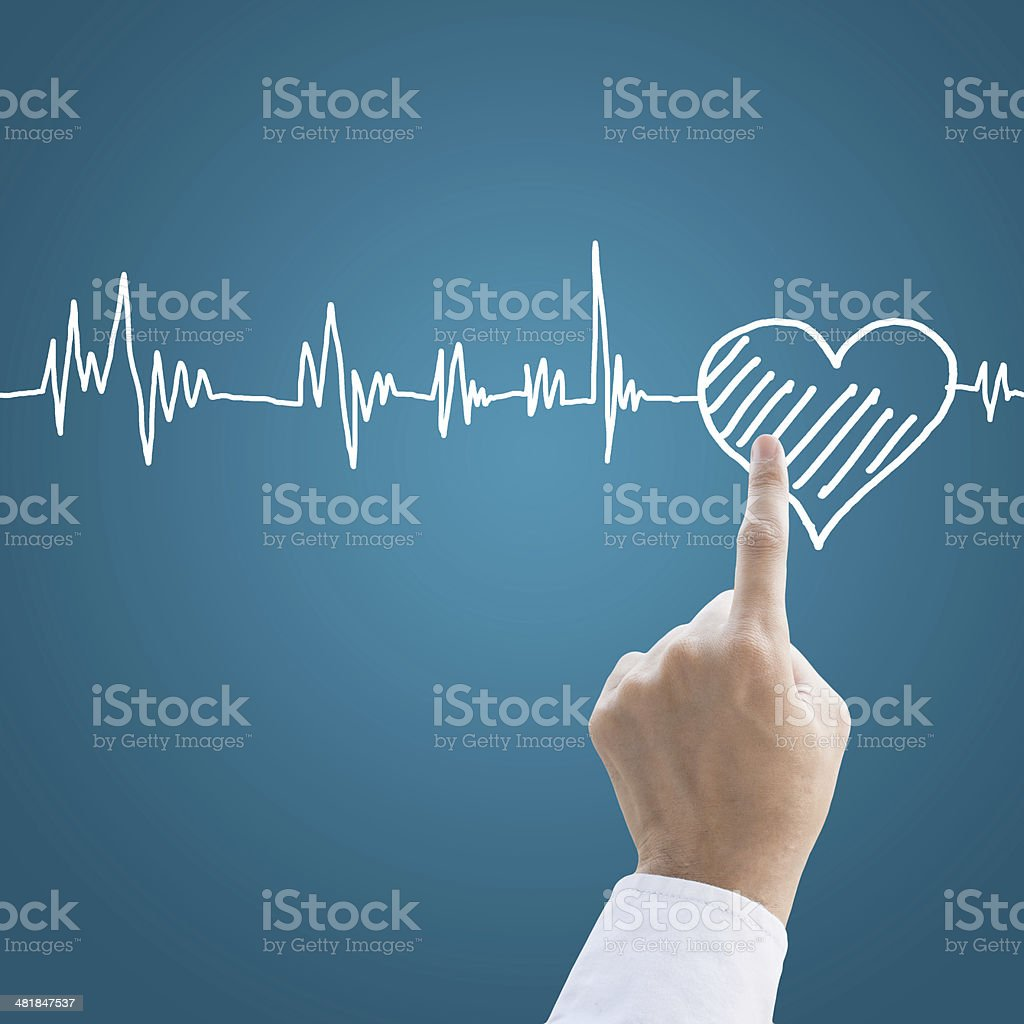 Hand medical with heart pulse stock photo