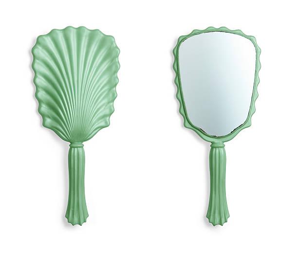 hand mirror _green_front - handspiegel stockfoto's en -beelden