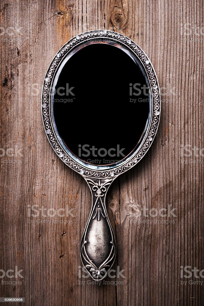 fancy hand mirror. Fancy Hand Mirror. Mirror Tattoo. Ornate Beautiful On  Wood Stock