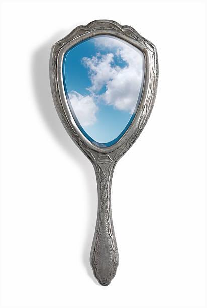 hand mirror sky reflection - handspiegel stockfoto's en -beelden