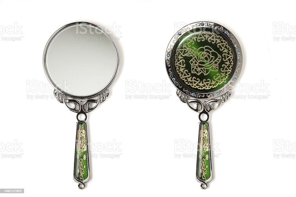 Hand mirror small green stock photo